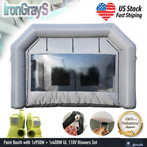23x13x8ft Spray Booth Inflatable Paint Booth Portable Car Painting Tent Blowers