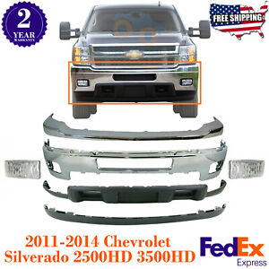 Front Bumper Chrome With Fog Lights Kit For 2011 2014 Silverado 2500hd 3500hd
