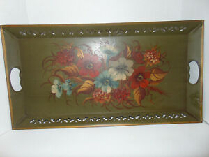 Vtg Pilgrim Art Toleware Floral Serving Tray