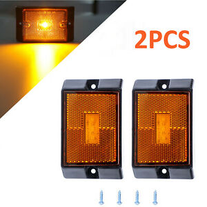 2pcs Amber Side Marker Lights Camper Trailer Rv Boat Light Clearance Lamps 4 Led