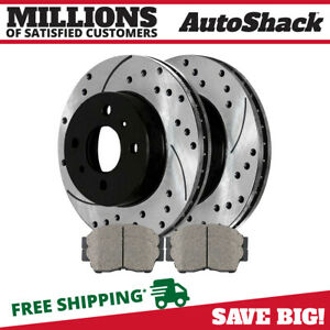 Front Drilled Slotted Rotors Ceramic Pads For 1993 1997 Geo Prizm Toyota Corolla