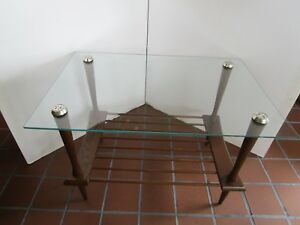 Mid Century Atomic Wood Coffee Table Glass Top 1960 S 20 H Tapered Legs 30 W