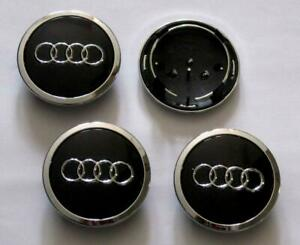 4pcs Black Chrome Wheel Rim Center Replacement Hub Caps For Audi 69mm 4b0601170a