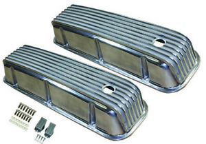 Aluminum Valve Covers Tall Polished Finned 65 95 Big Block Chevy 396 427 454 Bbc