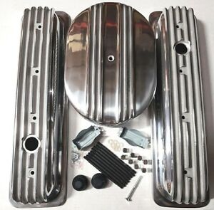 Sb Chevy Polished Aluminum Finned Short Center Bolt Valve Covers W Air Cleaner