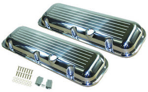 Aluminum Valve Covers Short Polished Ball Milled 65 95 Big Block Chevy 396 454