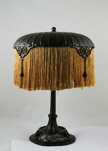 Art Nouveau Deco Table Lamp Wrought Iron Fer Forge Edgar Brandt Paul Kiss