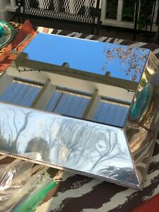 Antique English Silver Plate Slant Sided Raised Mirrored Plateau 19 Square