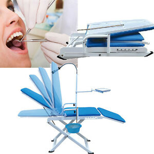 Dental Portable Mobile Folding Chair Led Cold Light Cuspidor Tray Equipment