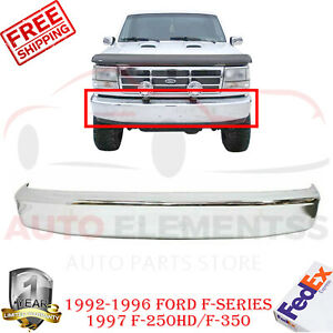 Front Bumper Chrome Steel For 1992 1996 Ford F series 1997 F 250hd f 350