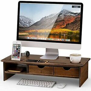 Tribesigns Monitor Stand Riser With Storage Organizer Drawers retro Brown