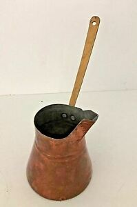 Vintage Turkish Copper Tinned Coffee Pot With Off Centered Long Brass Handle
