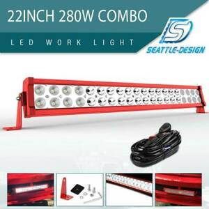 22inch 280w Led Light Bar Dual Row Spot Flood For Jeep Ford Offroad Truck Atv