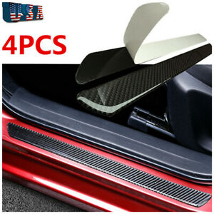 4x Carbon Fiber Sticker Car Scuff Plate Door Sill Panel Protection Guard Trim Us