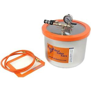 New Open Bvv 3 Gallon Wide Stainless Steel Side Mount Vacuum Chamber