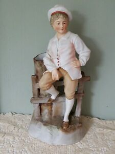 Lovely Antique German Bisque Porcelain Figurine Vase Young Man Hertwig Heubach