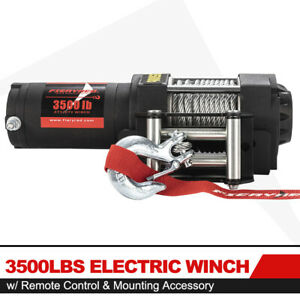 Fieryred Offroad 3500lb Electric Winch For Atv Ute W Steel Cable Remote Control