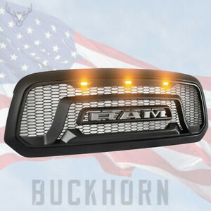 Fit For 2013 2018 Dodge Ram 1500 Mesh Grille Rebel Style Front Grill Hood Led Us