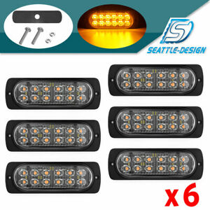 6x 36w Amber 12led Car Truck Emergency Warning Hazard Flash Strobe Light 12 24v