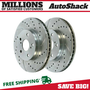 Front Performance Drilled Slotted Rotor Pair For 2002 2006 Toyota Camry Silver