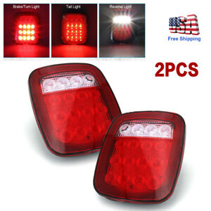 Pair Square Stop Turn Tail Backup 16led Marker Light For Trailer Jeep Semi Truck