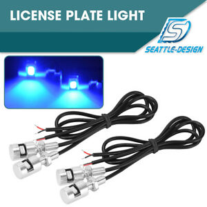 4pcs Blue 5730 Smd Led License Plate Light Screw Bolt Signal Lamp Motorcycle Car