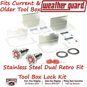 7838 2pk Weather Guard Stainless Steel Dual Retro Fit Tool Box Lock Kit