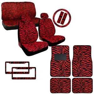 New Red Zebra Printed Car Seat Covers Floor Mats Steering Wheel Cover Set