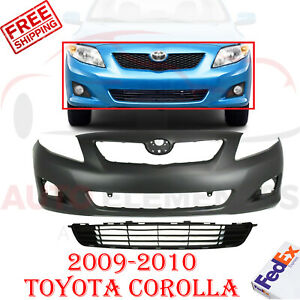 Front Bumper Cover Primed Textured Lower Grille For 09 10 Toyota Corolla Sedan