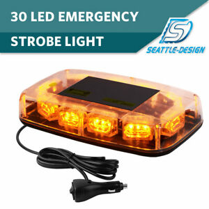 30led Top Roof Flashing Emergency Mini Strobe Light Bar Amber Yellow 12v 24v