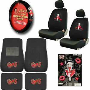 New 10pc Classic Betty Boop Car Seat Covers Steering Wheel Cover Floor Mats Set