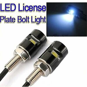 2 Pairs White Led Smd Motorcycle Car License Plate Screw Bolt Light Lamp Bulb