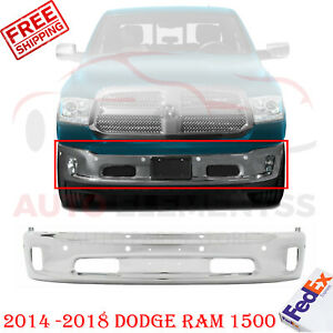 Front Bumper Chrome Steel W Pas And Fl Holes For 2014 2018 Dodge Ram 1500
