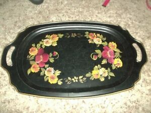 Beautiful Vintage Toleware Handpainted Tray 11 X 19