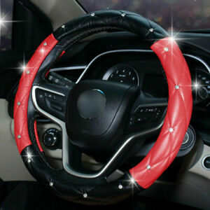 Car Steering Wheel Cover 38cm 15 Deluxe Pu Leather Bling Diamond Black Red