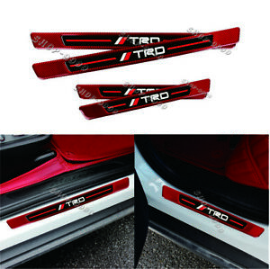 4pcs Trd Red Carbon Fiber Rubber Car Door Welcome Plate Sill Scuff Cover Panel