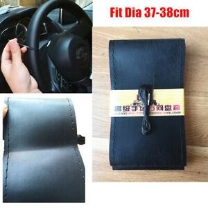 37 38cm Car Diy Auto Steering Wheel Cover Leather Non Slip Needle Thread Black