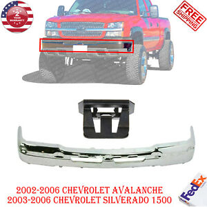 Front Bumper Chrome Steel For 2003 2007 Chevy Silverado 1500 2500 Avalance