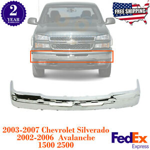 Front Bumper Bar Chrome Steel For 2003 2006 Silverado 1500 2500 Avalance 02 06