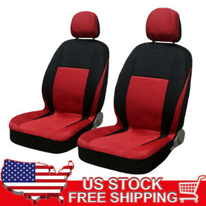 8 Piece Seat Covers Fabric Cloth Red With Headrests Full Set Universal Fit