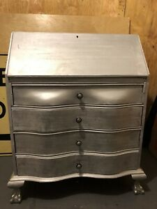 Refurbished Antique Secretary Desk Hand Painted In Silver Metallic