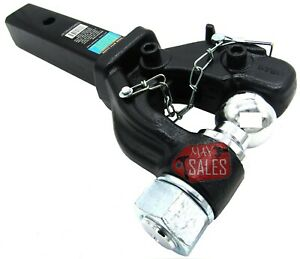 New Pintle Hook Combo 10 000 Lbs W 2 Ball Fits 2 Hitch Tow Receivers