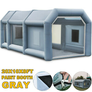 Hot 20x10x8ft Portable Inflatable Spray Paint Booth Car Workstation Tent Gray Us