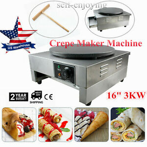 16 Commercial Electric Crepe Maker Pancake Pizza Machine Big Hot Plate Nonstick