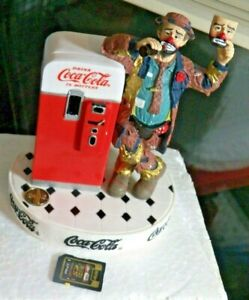 Cute Coca Cola Rodeo Clown Emmett Kelly Put  On a Happy Face Figurine 1997