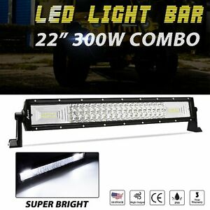 22 Inch Tri Row Cree Led Light Bar Combo Work Fog Lamp Offroad Truck Boat 4wd