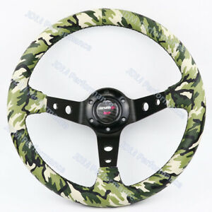 14inch Jdm Omp Camo Pvc Leather Steering Wheel Thick Black Spoke Steering Wheel