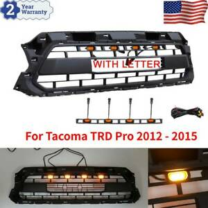 Front Hood Grill Grille For Tacoma Trd Pro 2012 2015 With Led Light Letters Us