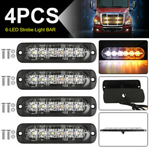 4x Amber white 12 Led Strobe Lights Bar Emergency Flashing Warning Hazard Beacon