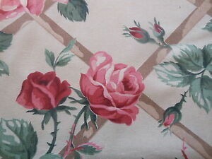 Antique Vintage Shabby Cottage Roses Trellis Cotton Fabric Red Pink Green
